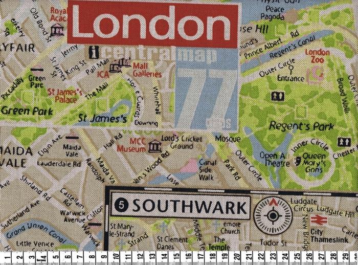 Stof, Kraftig bomuld med London Map Print, pr.0,25 m. - STOF og STUFF - kreativ livsstil | Stof ...