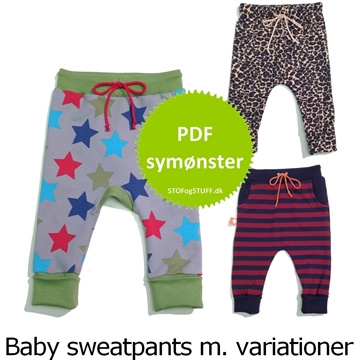 PDF Symønster til Baby Sweat Pants med variationer