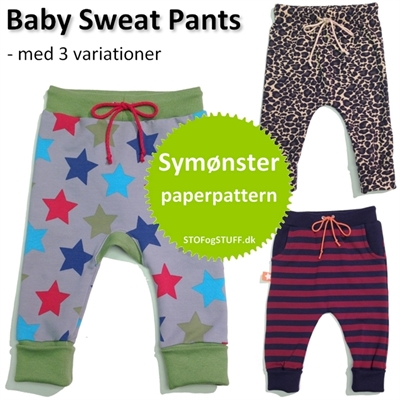 Papir symønstre til Baby Sweat Pants med variationer