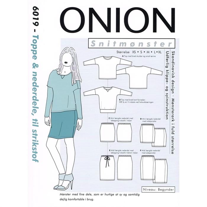Onion 6019 Toppe og nederdele til strikstof, str. xs xl