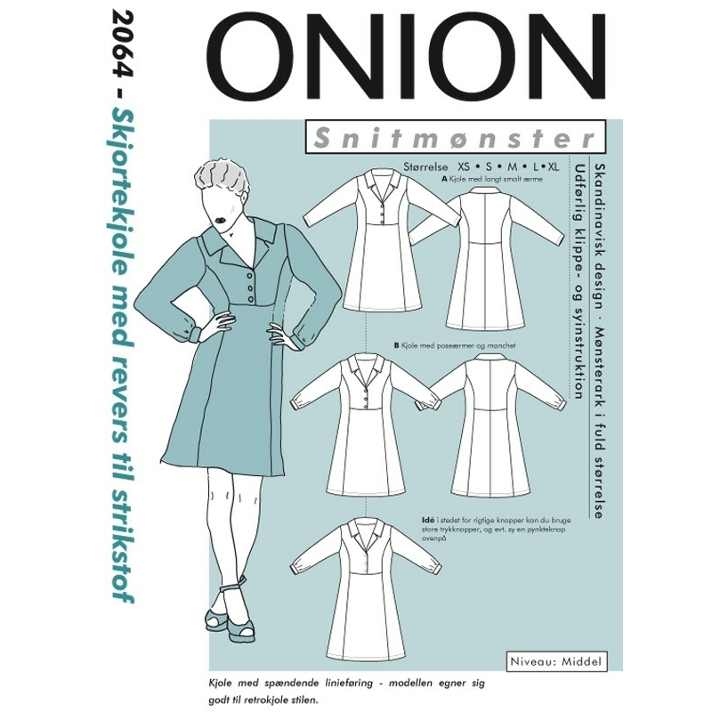 ed5f940b Onion 2064 symønster på Skjortekjole med revers til strikstof