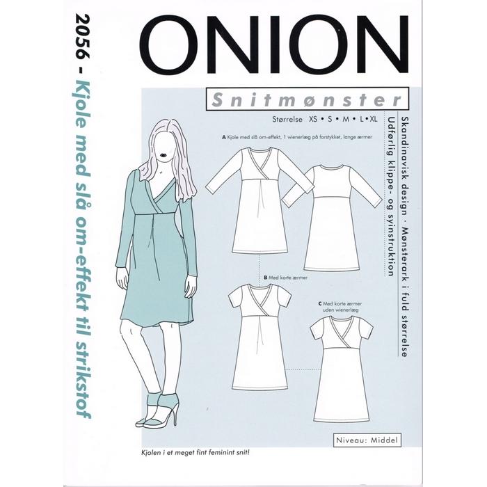 Onion 2056 symønster, Kjole med slå om effekt til strikstof, str. xs xl