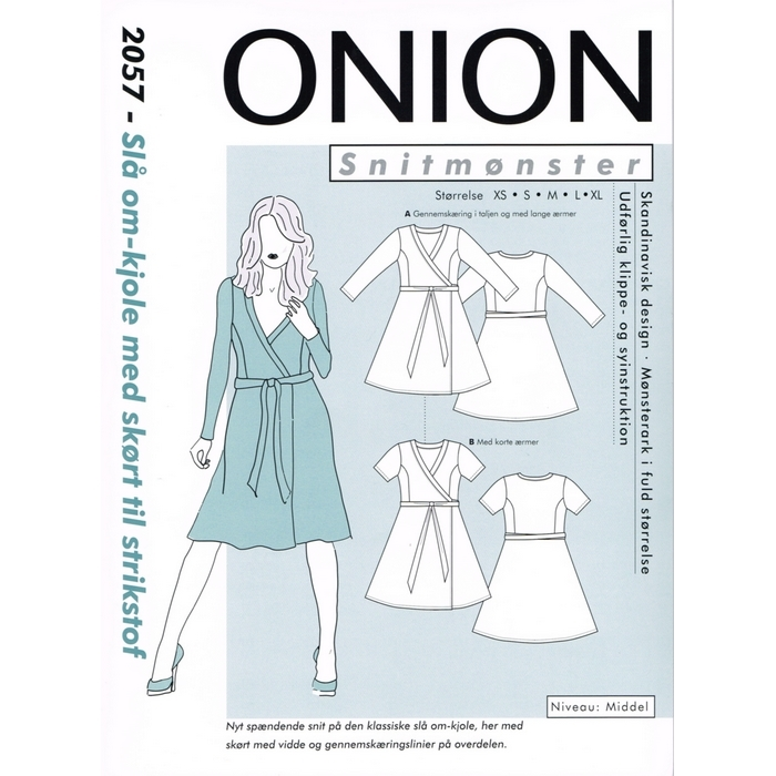 aa64e720 Symønster på kjole slå om-effekt med skørt til strik, Onion 2057